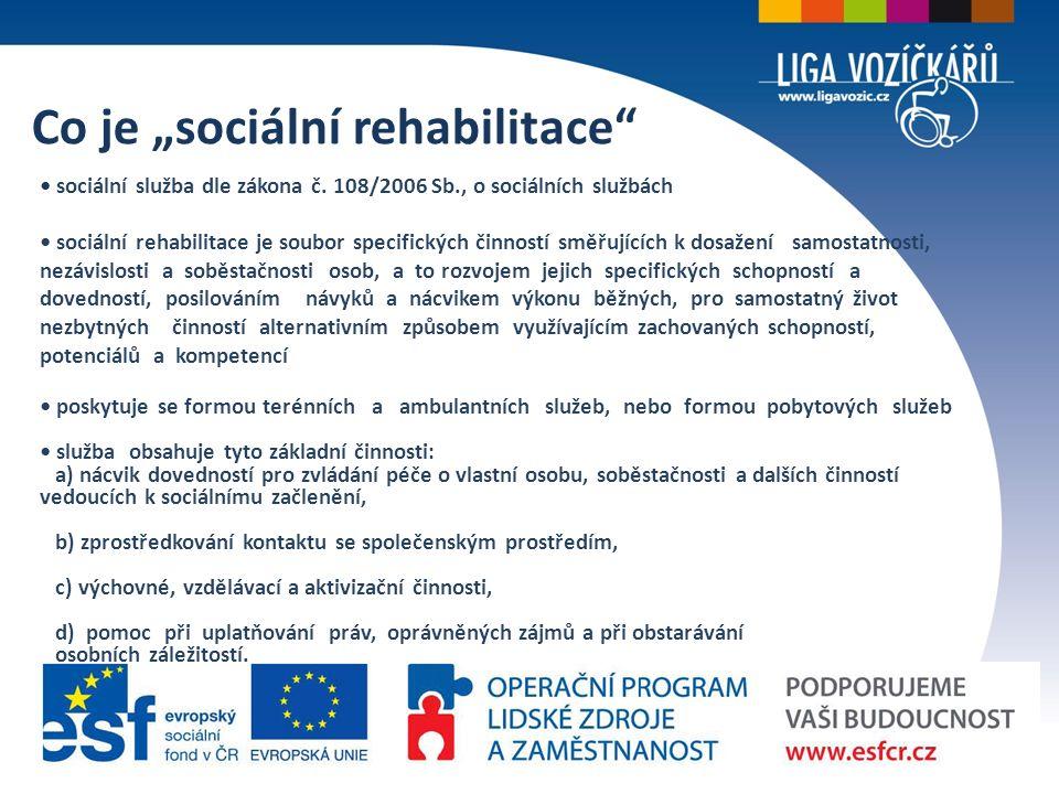 """Co je """"sociální rehabilitace sociální služba dle zákona č."""