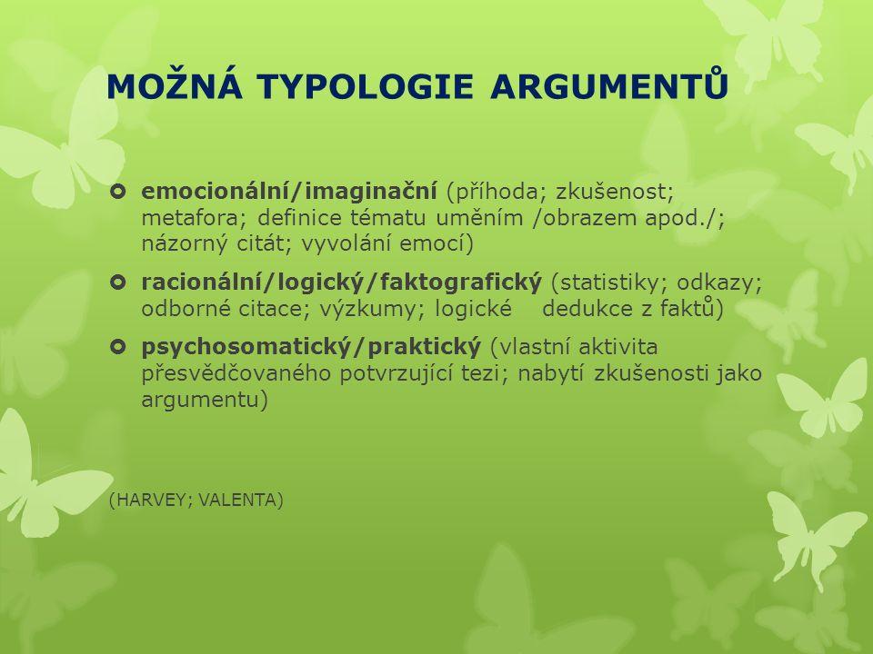 MOŽNÁ TYPOLOGIE ARGUMENTŮ  emocionální/imaginační (příhoda; zkušenost; metafora; definice tématu uměním /obrazem apod./; názorný citát; vyvolání emocí)  racionální/logický/faktografický (statistiky; odkazy; odborné citace; výzkumy; logické dedukce z faktů)  psychosomatický/praktický (vlastní aktivita přesvědčovaného potvrzující tezi; nabytí zkušenosti jako argumentu) (HARVEY; VALENTA)