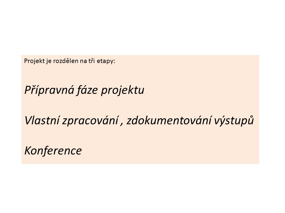 Projekt je rozdělen na tři etapy: Přípravná fáze projektu Vlastní zpracování, zdokumentování výstupů Konference