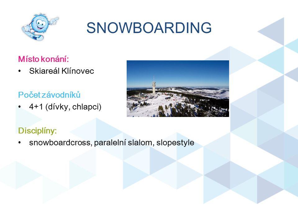 SNOWBOARDING Místo konání: Skiareál Klínovec Počet závodníků 4+1 (dívky, chlapci) Disciplíny: snowboardcross, paralelní slalom, slopestyle