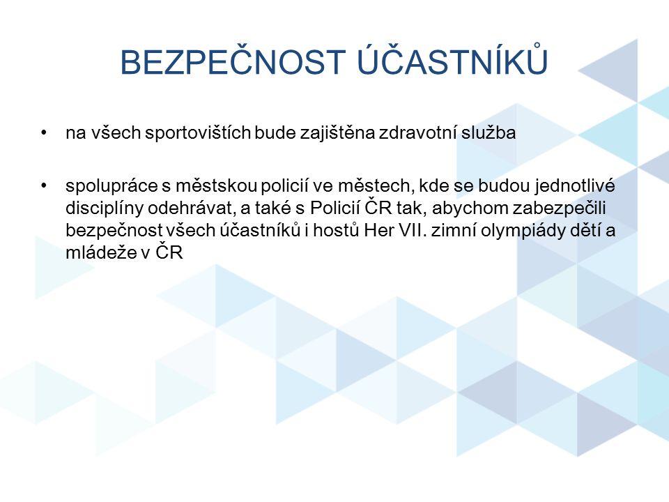 BEZPEČNOST ÚČASTNÍKŮ na všech sportovištích bude zajištěna zdravotní služba spolupráce s městskou policií ve městech, kde se budou jednotlivé disciplí