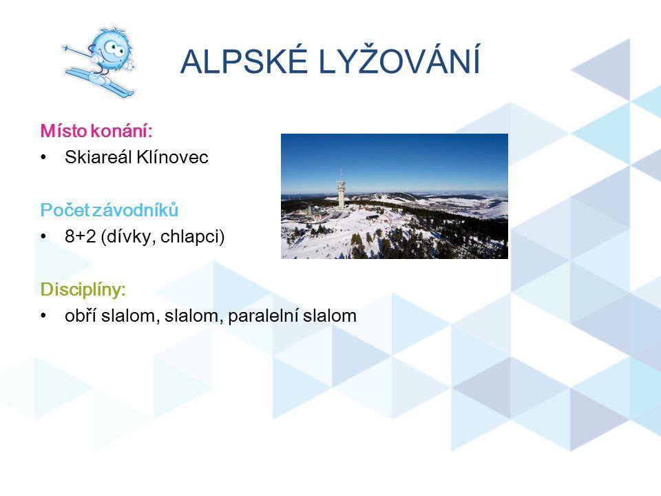 ALPSKÉ LYŽOVÁNÍ Místo konání: Skiareál Klínovec Počet závodníků 8+2 (dívky, chlapci) Disciplíny: obří slalom, slalom, paralelní slalom