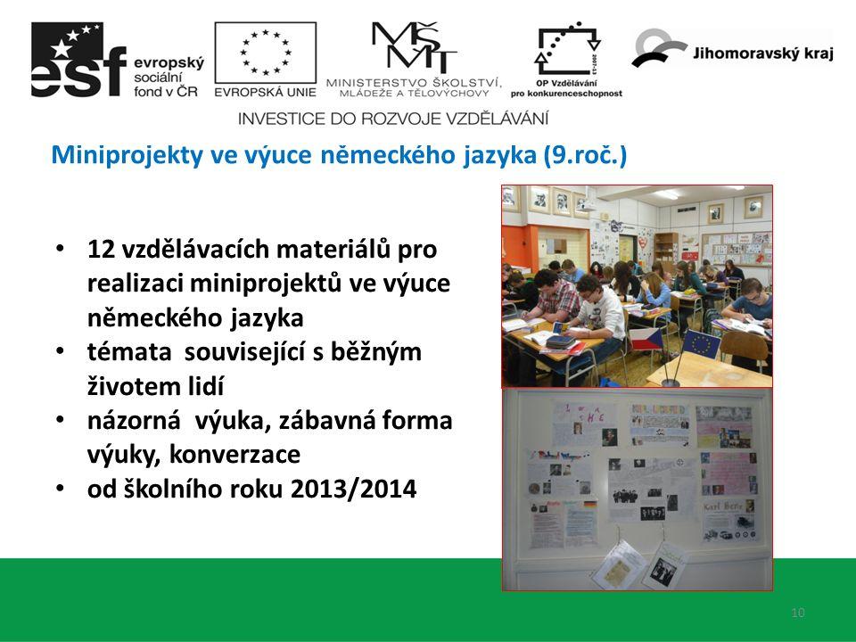 Miniprojekty ve výuce německého jazyka (9.roč.) 10 12 vzdělávacích materiálů pro realizaci miniprojektů ve výuce německého jazyka témata související s běžným životem lidí názorná výuka, zábavná forma výuky, konverzace od školního roku 2013/2014