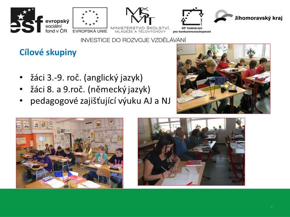 4 Cílové skupiny žáci 3.-9. roč. (anglický jazyk) žáci 8.