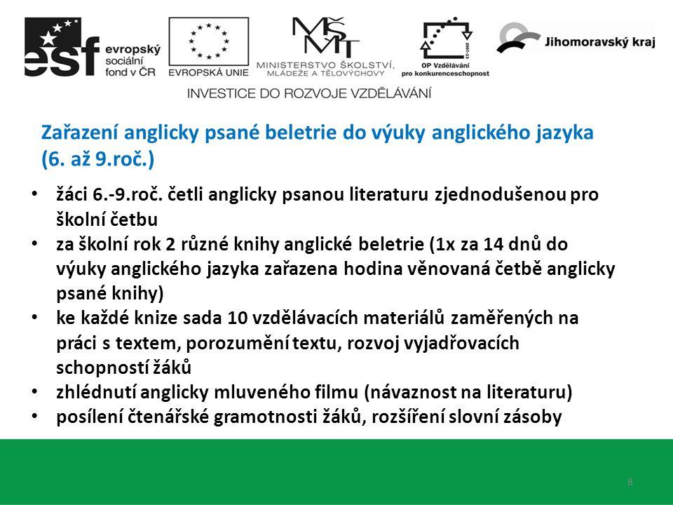 Zařazení anglicky psané beletrie do výuky anglického jazyka (6. až 9.roč.) 9