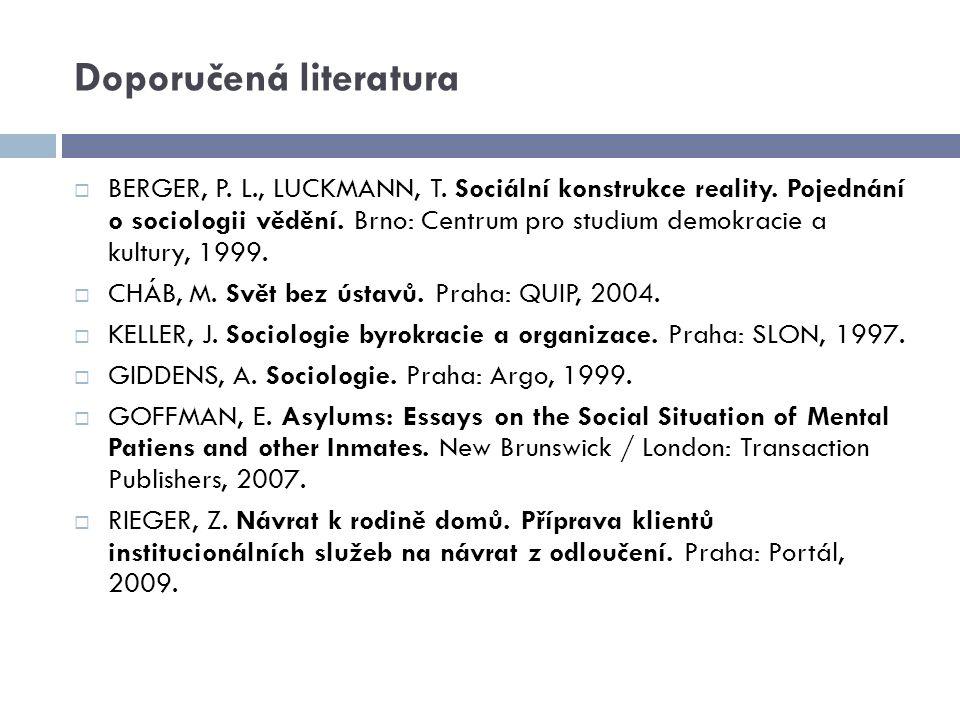 Doporučená literatura  BERGER, P. L., LUCKMANN, T. Sociální konstrukce reality. Pojednání o sociologii vědění. Brno: Centrum pro studium demokracie a