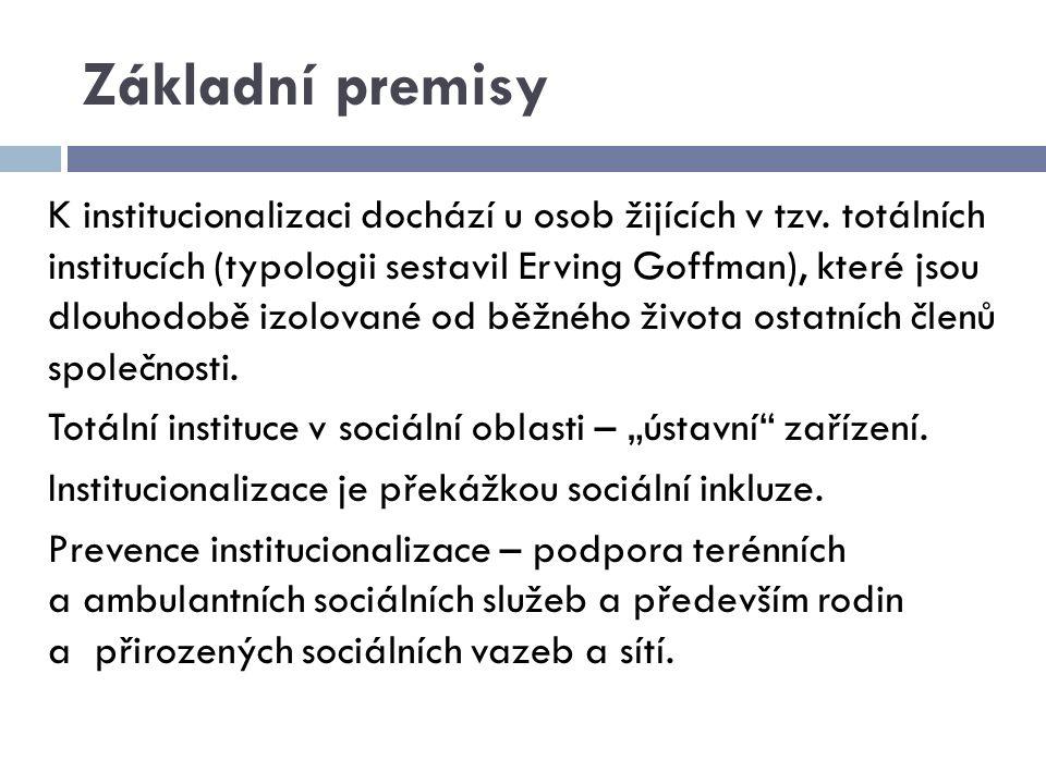 Základní premisy K institucionalizaci dochází u osob žijících v tzv. totálních institucích (typologii sestavil Erving Goffman), které jsou dlouhodobě