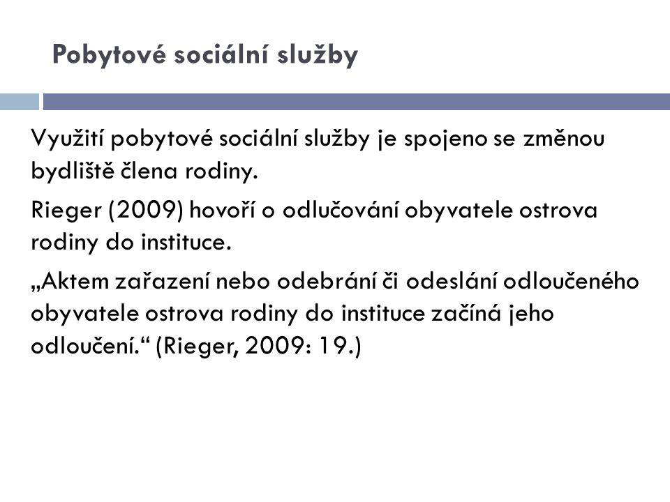 Pobytové sociální služby Využití pobytové sociální služby je spojeno se změnou bydliště člena rodiny. Rieger (2009) hovoří o odlučování obyvatele ostr