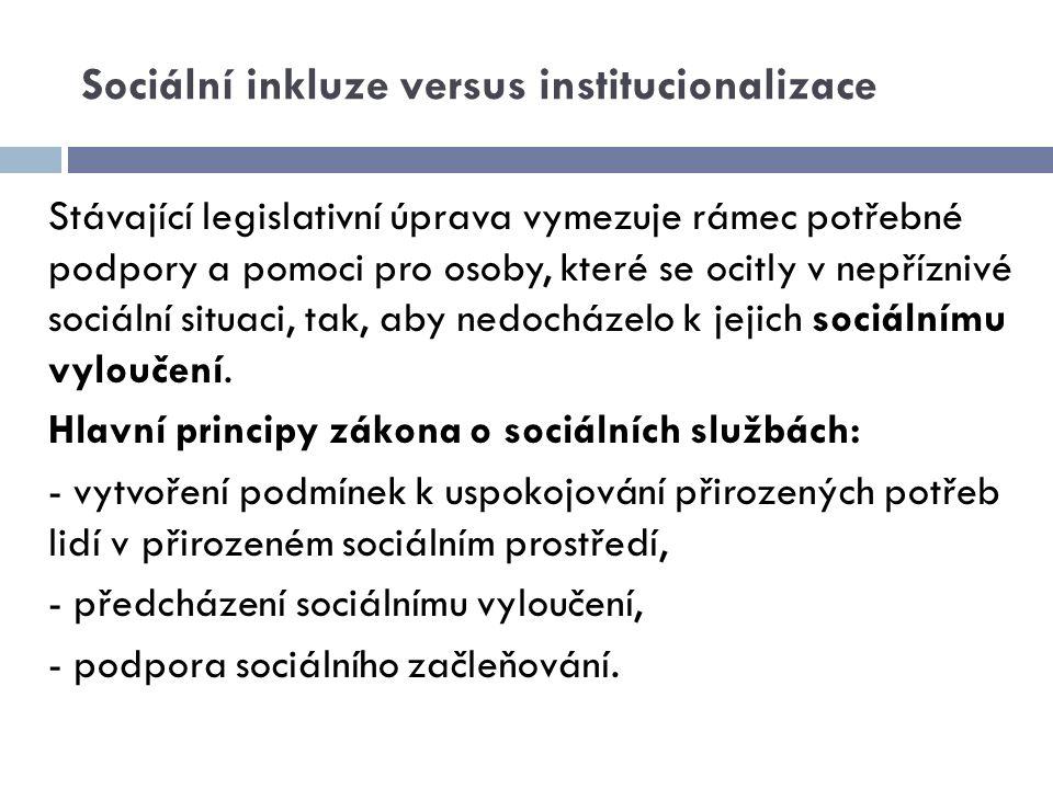 Sociální inkluze versus institucionalizace Stávající legislativní úprava vymezuje rámec potřebné podpory a pomoci pro osoby, které se ocitly v nepřízn