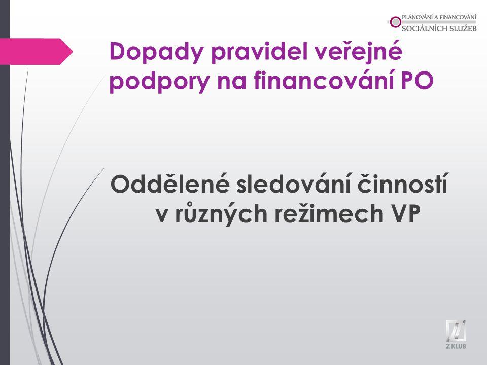 Dopady pravidel veřejné podpory na financování PO Oddělené sledování činností v různých režimech VP