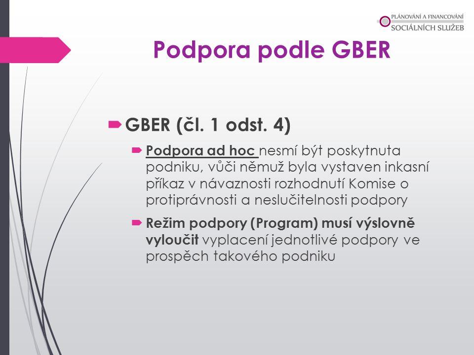Podpora podle GBER  GBER (čl. 1 odst.