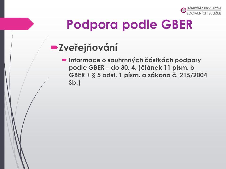 Podpora podle GBER  Zveřejňování  Informace o souhrnných částkách podpory podle GBER – do 30.