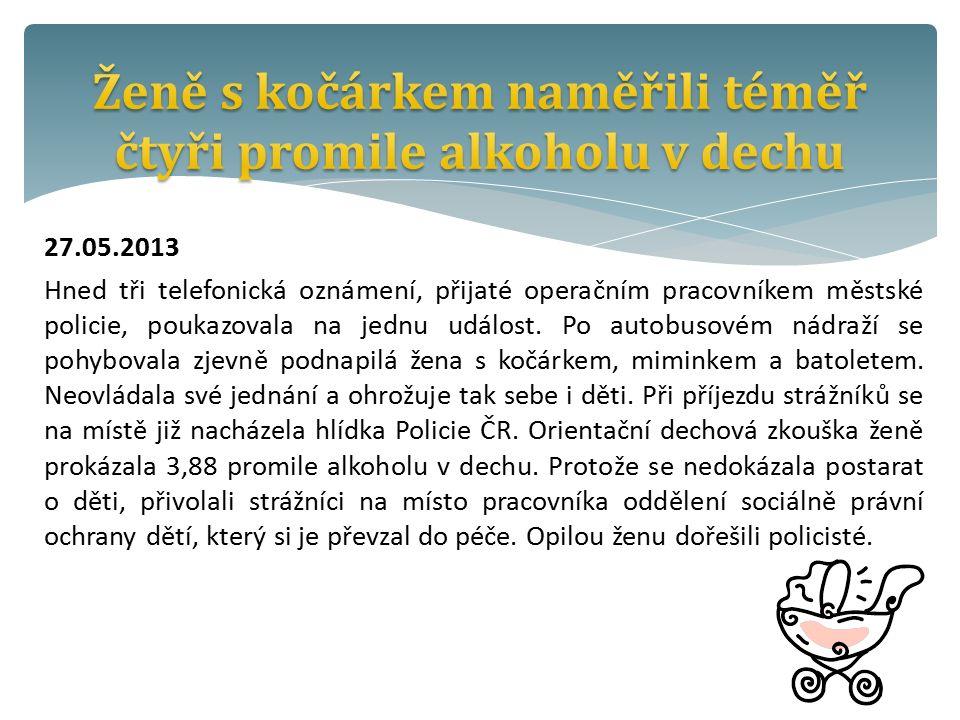 27.05.2013 Hned tři telefonická oznámení, přijaté operačním pracovníkem městské policie, poukazovala na jednu událost.