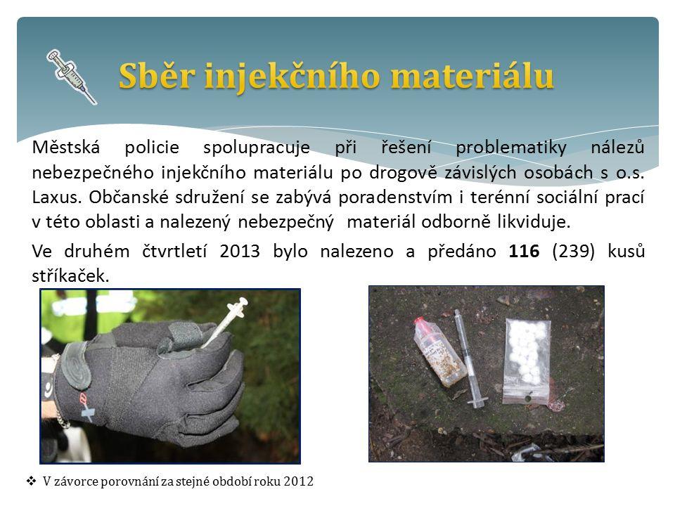 Městská policie spolupracuje při řešení problematiky nálezů nebezpečného injekčního materiálu po drogově závislých osobách s o.s.