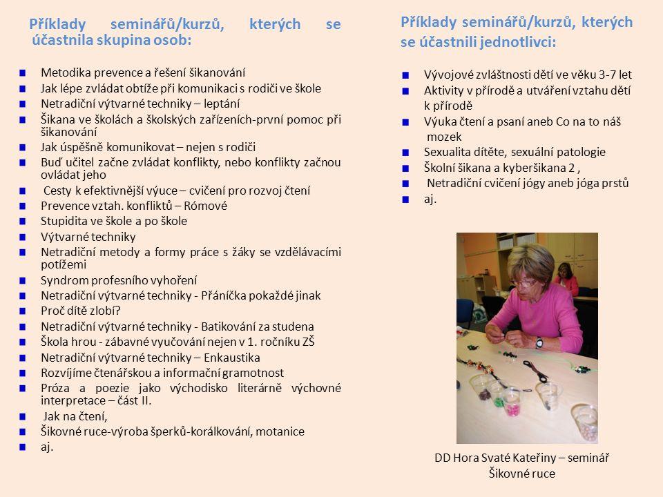 Příklady seminářů/kurzů, kterých se účastnila skupina osob: Metodika prevence a řešení šikanování Jak lépe zvládat obtíže při komunikaci s rodiči ve š