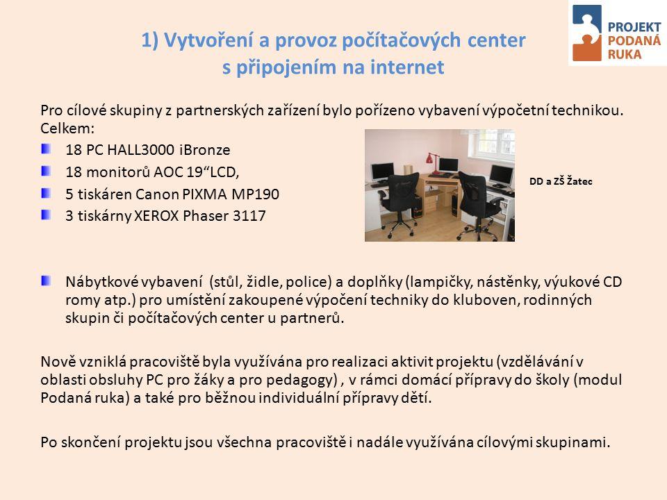1) Vytvoření a provoz počítačových center s připojením na internet Pro cílové skupiny z partnerských zařízení bylo pořízeno vybavení výpočetní technikou.