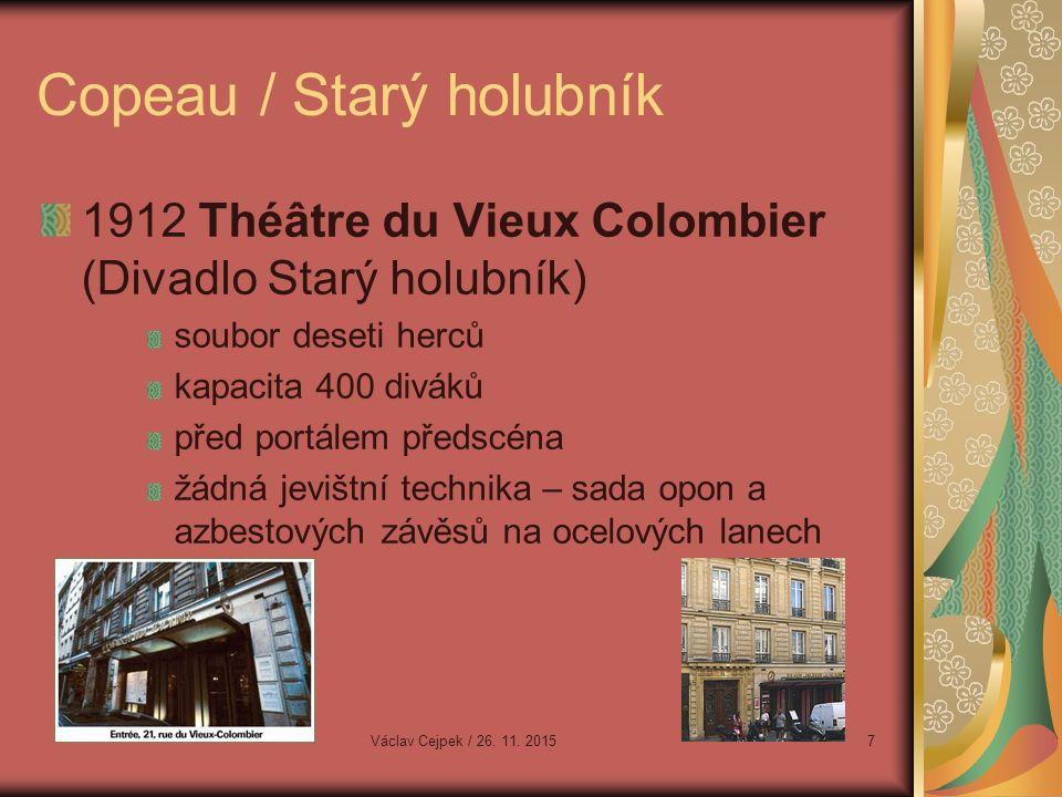Copeau / Starý holubník 1912 Théâtre du Vieux Colombier (Divadlo Starý holubník) soubor deseti herců kapacita 400 diváků před portálem předscéna žádná jevištní technika – sada opon a azbestových závěsů na ocelových lanech Václav Cejpek / 26.
