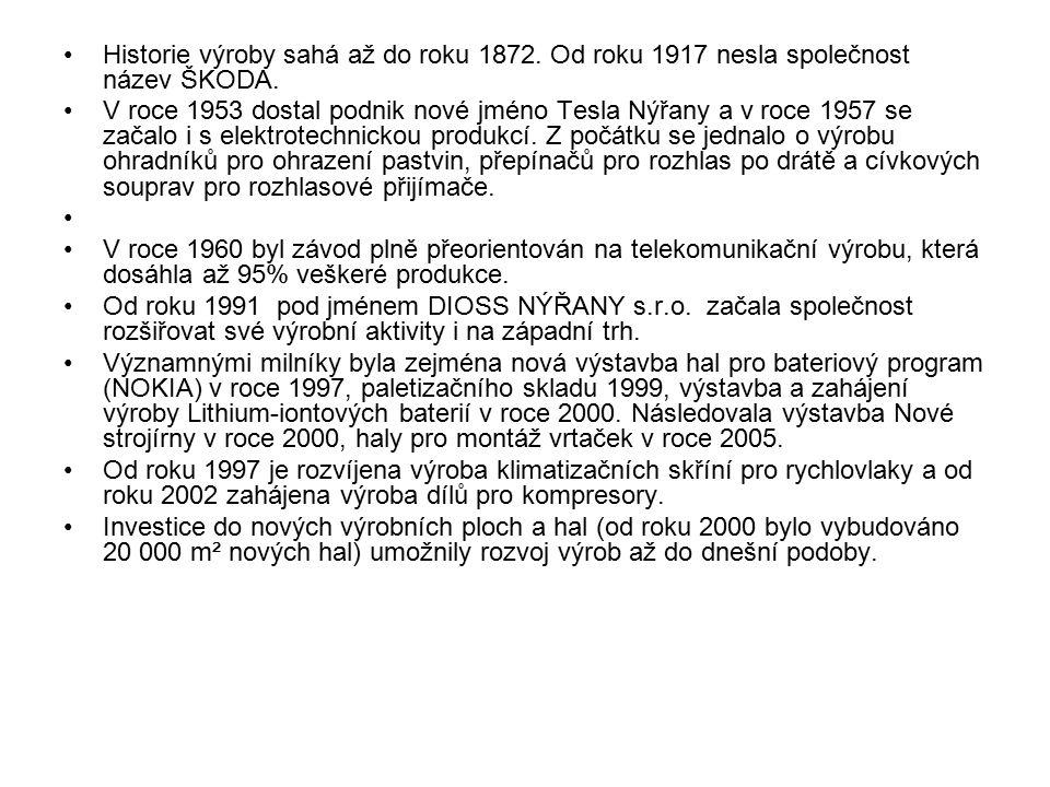 Historie výroby sahá až do roku 1872. Od roku 1917 nesla společnost název ŠKODA. V roce 1953 dostal podnik nové jméno Tesla Nýřany a v roce 1957 se za