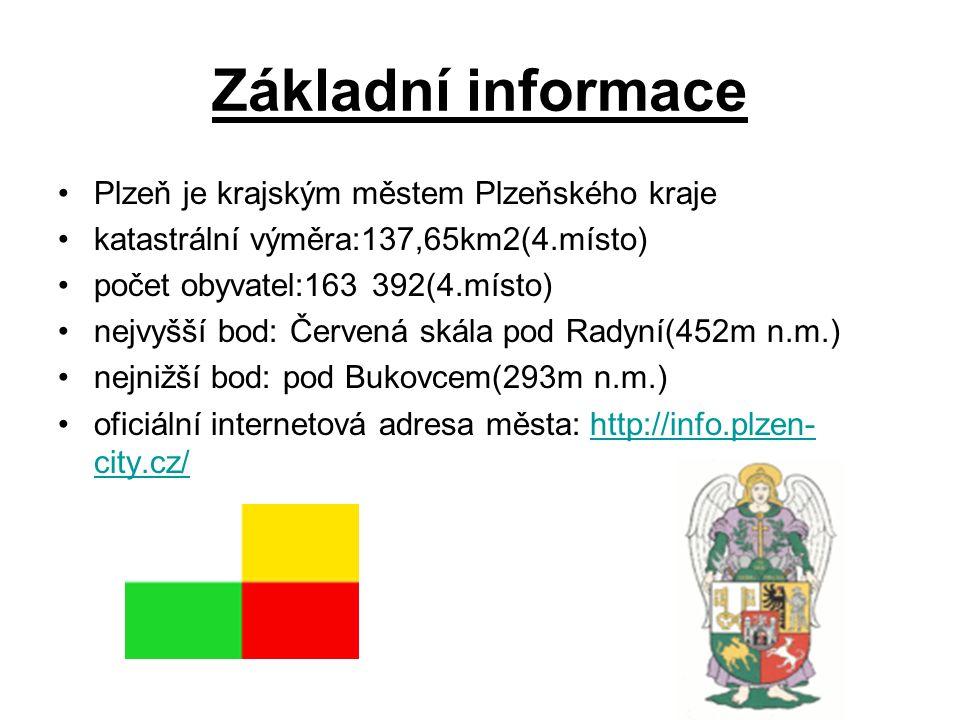 Základní informace Plzeň je krajským městem Plzeňského kraje katastrální výměra:137,65km2(4.místo) počet obyvatel:163 392(4.místo) nejvyšší bod: Červe