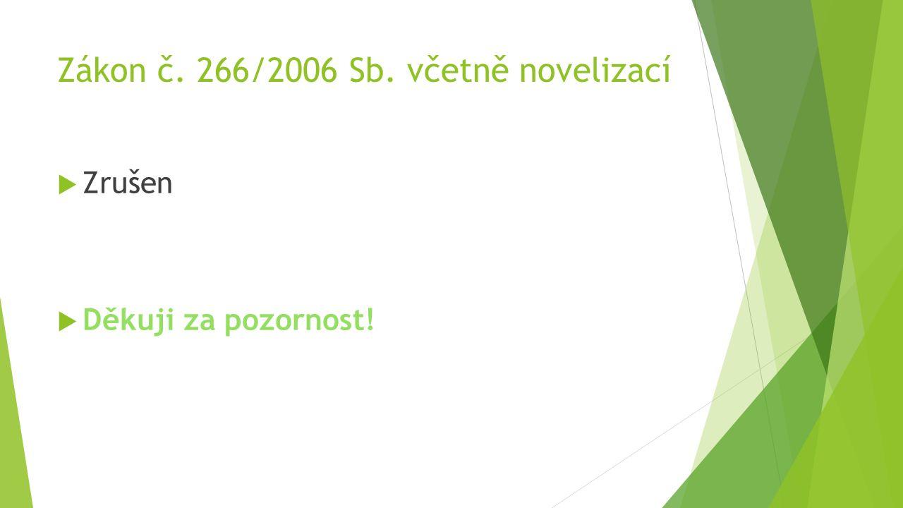 Zákon č. 266/2006 Sb. včetně novelizací  Zrušen  Děkuji za pozornost!
