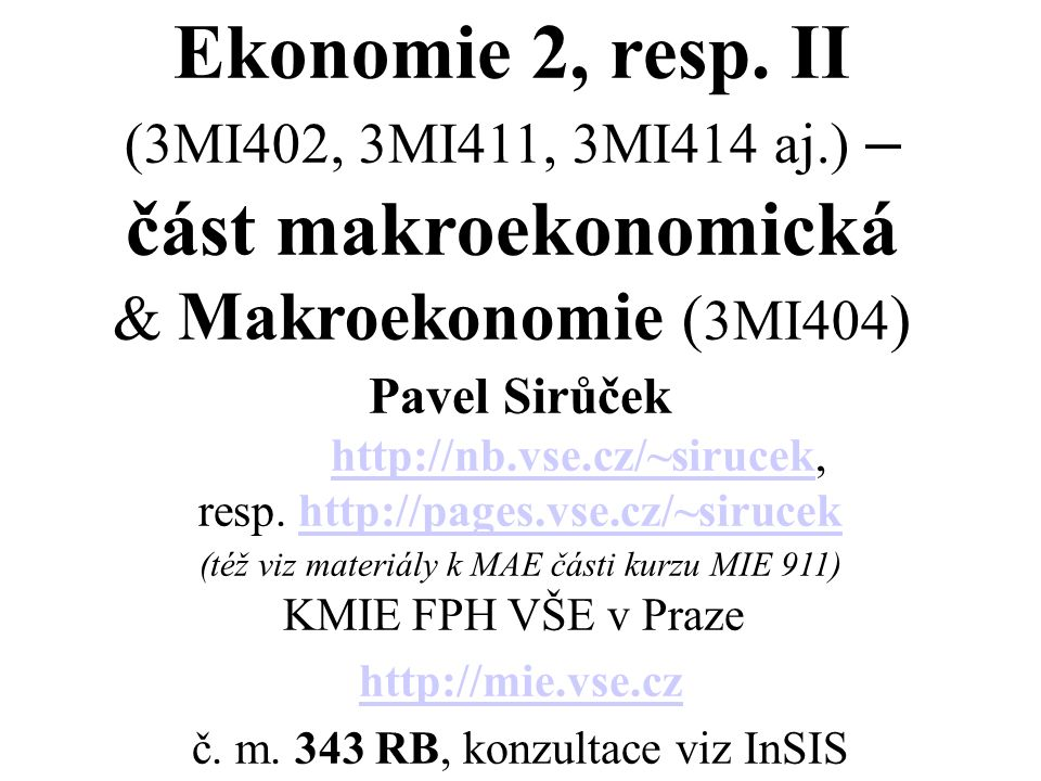 Ekonomie 2, resp.