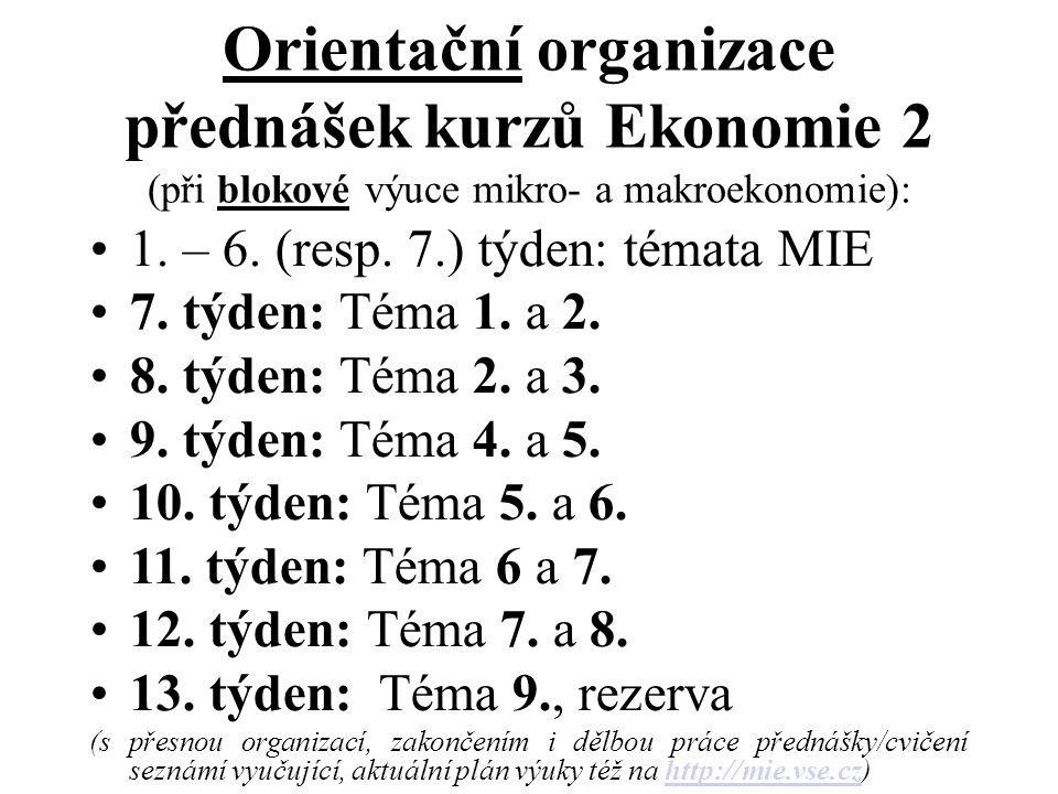 Orientační organizace přednášek kurzů Ekonomie 2 (při blokové výuce mikro- a makroekonomie): 1. – 6. (resp. 7.) týden: témata MIE 7. týden: Téma 1. a