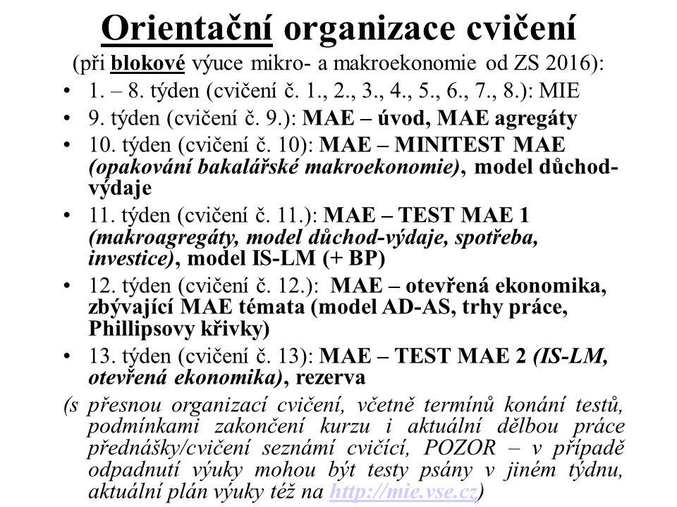 Orientační organizace cvičení (při blokové výuce mikro- a makroekonomie od ZS 2016): 1. – 8. týden (cvičení č. 1., 2., 3., 4., 5., 6., 7., 8.): MIE 9.