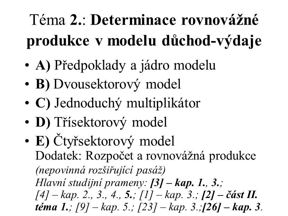 Téma 2.: Determinace rovnovážné produkce v modelu důchod-výdaje A) Předpoklady a jádro modelu B) Dvousektorový model C) Jednoduchý multiplikátor D) Třísektorový model E) Čtyřsektorový model Dodatek: Rozpočet a rovnovážná produkce (nepovinná rozšiřující pasáž) Hlavní studijní prameny: [3] – kap.