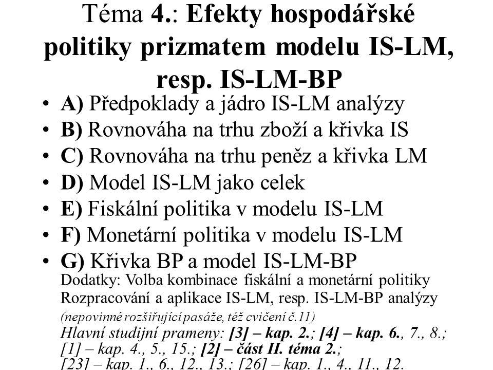 Téma 4.: Efekty hospodářské politiky prizmatem modelu IS-LM, resp. IS-LM-BP A) Předpoklady a jádro IS-LM analýzy B) Rovnováha na trhu zboží a křivka I
