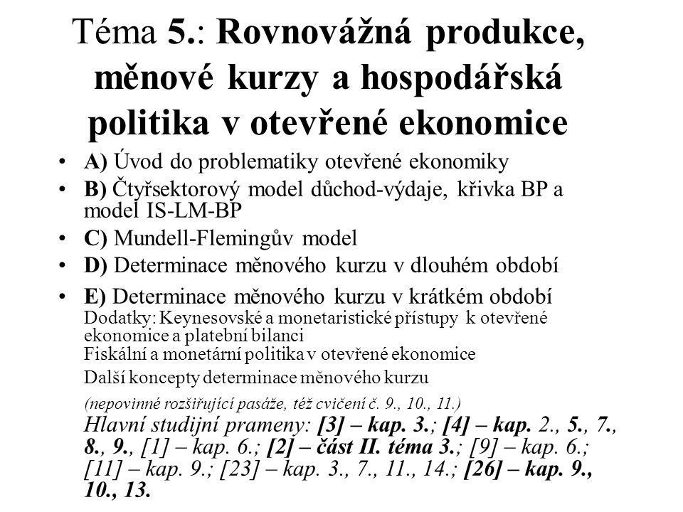 Téma 5.: Rovnovážná produkce, měnové kurzy a hospodářská politika v otevřené ekonomice A) Úvod do problematiky otevřené ekonomiky B) Čtyřsektorový model důchod-výdaje, křivka BP a model IS-LM-BP C) Mundell-Flemingův model D) Determinace měnového kurzu v dlouhém období E) Determinace měnového kurzu v krátkém období Dodatky: Keynesovské a monetaristické přístupy k otevřené ekonomice a platební bilanci Fiskální a monetární politika v otevřené ekonomice Další koncepty determinace měnového kurzu (nepovinné rozšiřující pasáže, též cvičení č.