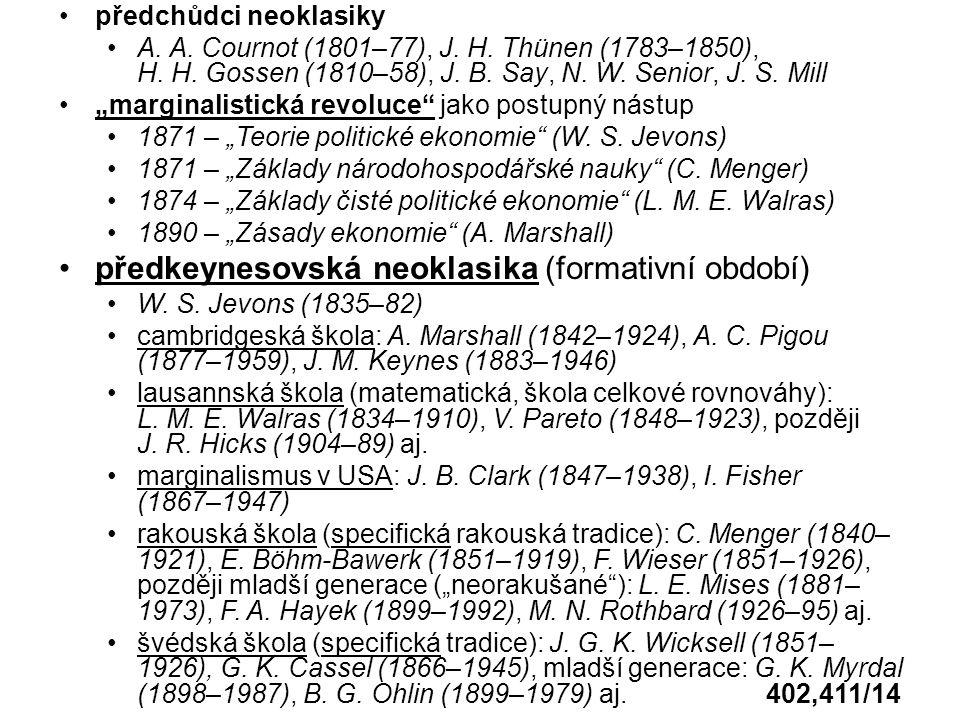 předchůdci neoklasiky A. A. Cournot (1801–77), J.