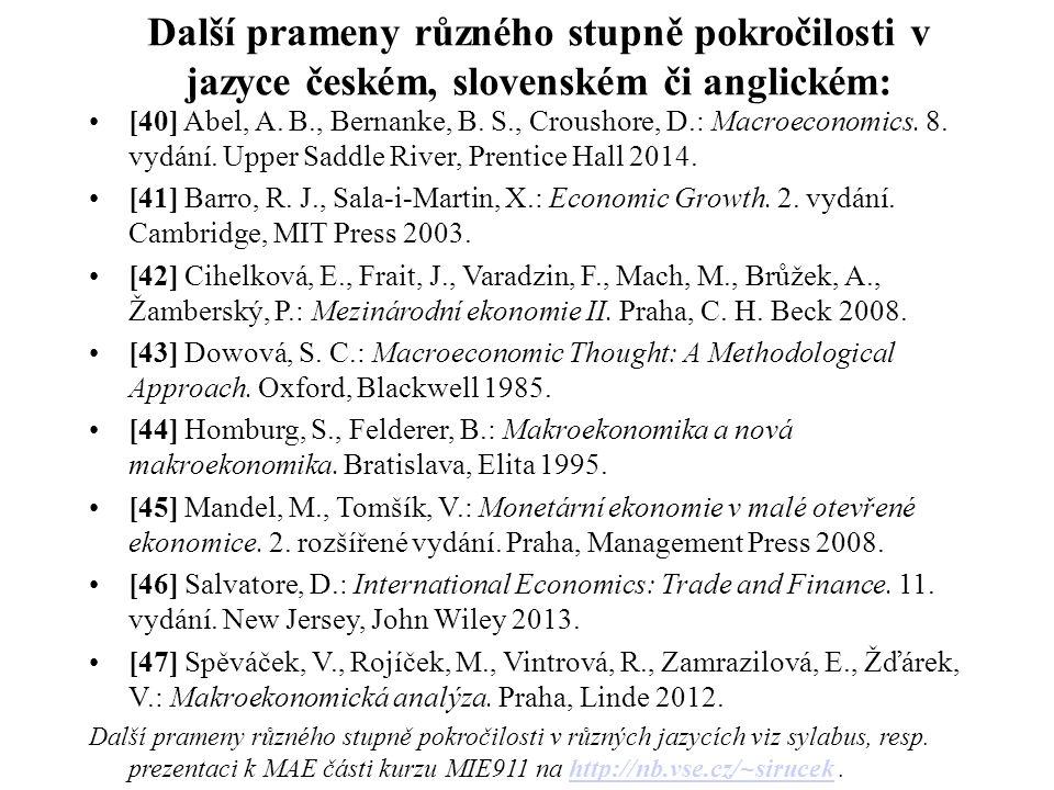 Další prameny různého stupně pokročilosti v jazyce českém, slovenském či anglickém: [40] Abel, A.
