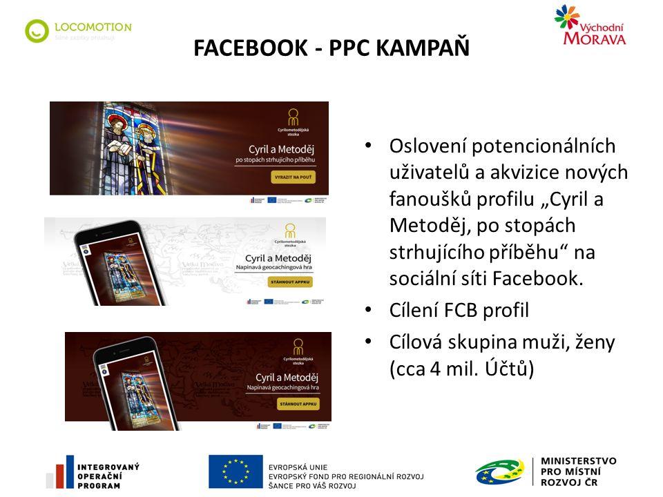 """FACEBOOK - PPC KAMPAŇ Oslovení potencionálních uživatelů a akvizice nových fanoušků profilu """"Cyril a Metoděj, po stopách strhujícího příběhu na sociální síti Facebook."""