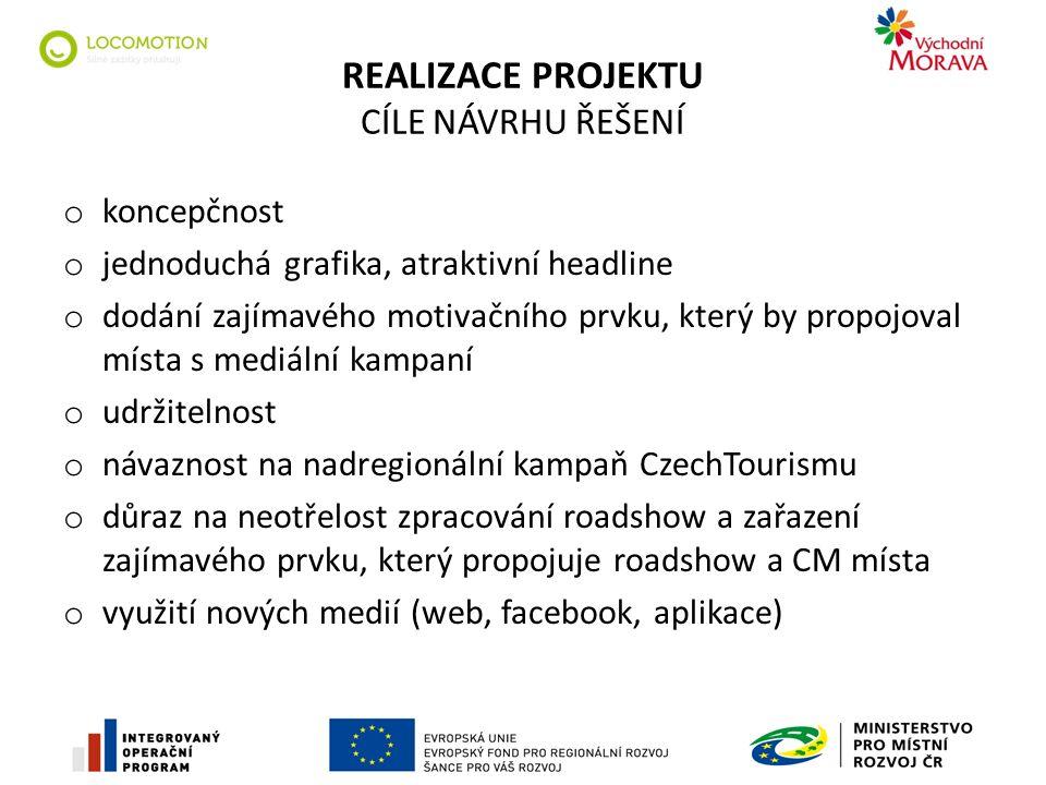 REALIZACE PROJEKTU CÍLE NÁVRHU ŘEŠENÍ o koncepčnost o jednoduchá grafika, atraktivní headline o dodání zajímavého motivačního prvku, který by propojoval místa s mediální kampaní o udržitelnost o návaznost na nadregionální kampaň CzechTourismu o důraz na neotřelost zpracování roadshow a zařazení zajímavého prvku, který propojuje roadshow a CM místa o využití nových medií (web, facebook, aplikace)