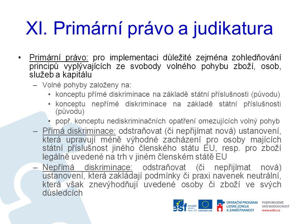 XI. Primární právo a judikatura Primární právo: pro implementaci důležité zejména zohledňování principů vyplývajících ze svobody volného pohybu zboží,