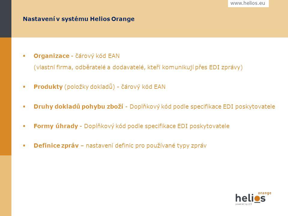 www.helios.eu Helios Orange standardně umožňuje odesílat dokumenty ve formě zpráv. Formáty zpráv  EDITEL XML - novější, sestavený na bázi technologie
