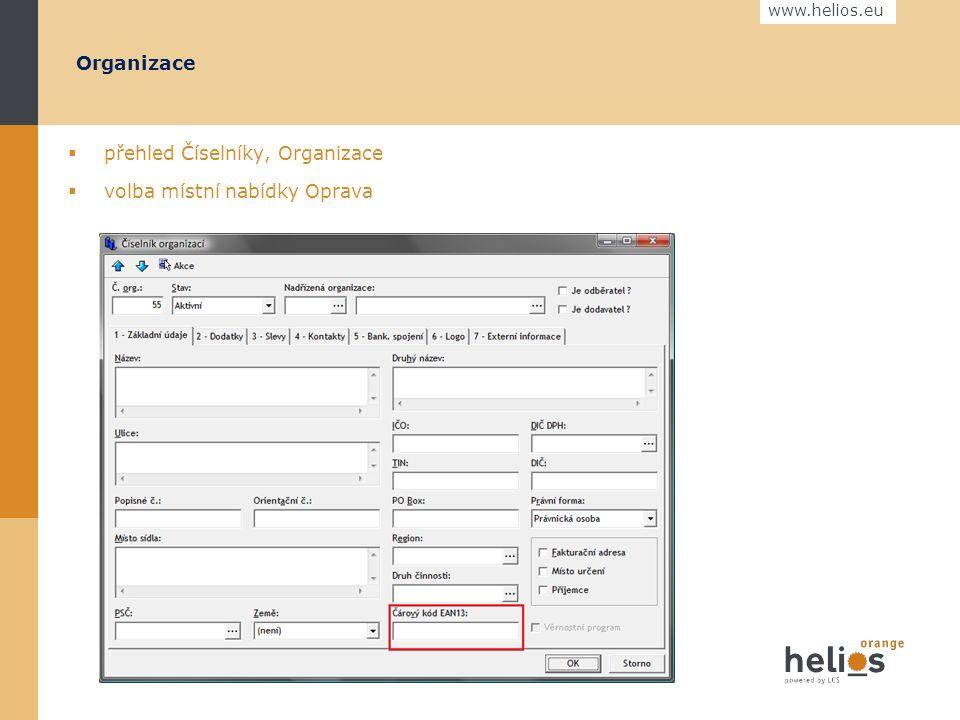 www.helios.eu Nastavení v systému Helios Orange  Organizace - čárový kód EAN (vlastní firma, odběratelé a dodavatelé, kteří komunikují přes EDI zprávy)  Produkty (položky dokladů) - čárový kód EAN  Druhy dokladů pohybu zboží - Doplňkový kód podle specifikace EDI poskytovatele  Formy úhrady - Doplňkový kód podle specifikace EDI poskytovatele  Definice zpráv – nastavení definic pro používané typy zpráv