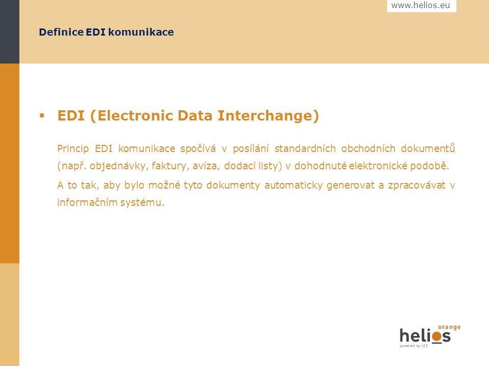 www.helios.eu EDI komunikace Jak na to... Praha 6.5.2009 Ing. František FRÝDL senior konzultant Helios Orange
