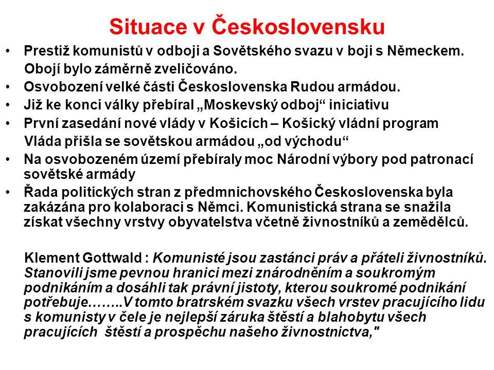 Situace v Československu Prestiž komunistů v odboji a Sovětského svazu v boji s Německem.