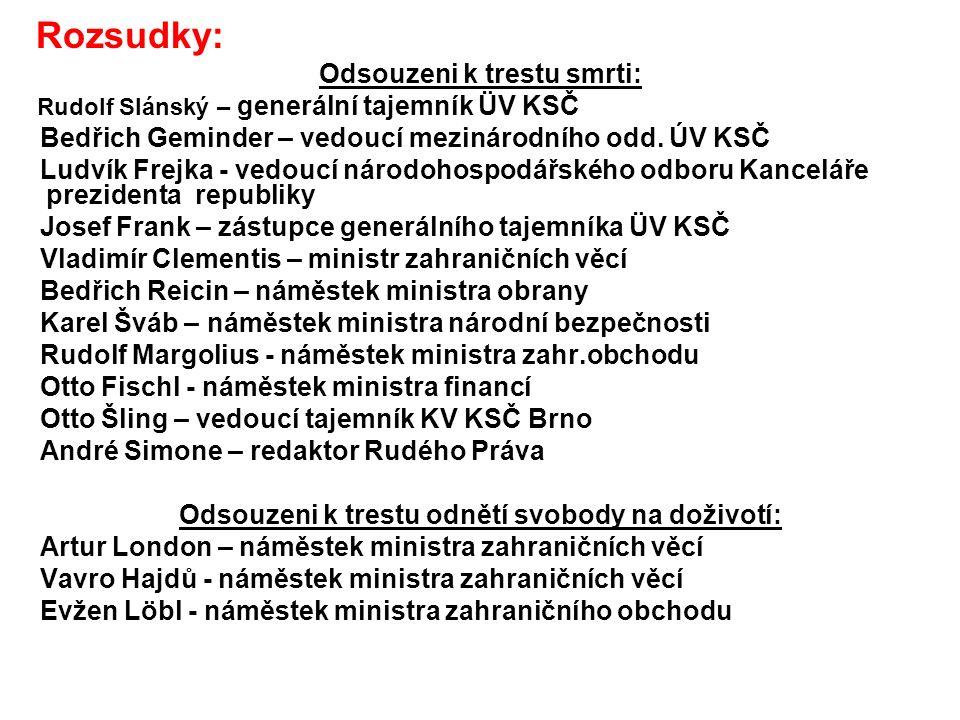 Rozsudky: Odsouzeni k trestu smrti: Rudolf Slánský – generální tajemník ÜV KSČ Bedřich Geminder – vedoucí mezinárodního odd.