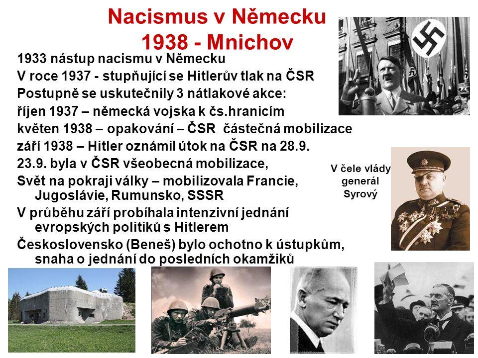 Nacismus v Německu 1938 - Mnichov 1933 nástup nacismu v Německu V roce 1937 - stupňující se Hitlerův tlak na ČSR Postupně se uskutečnily 3 nátlakové akce: říjen 1937 – německá vojska k čs.hranicím květen 1938 – opakování – ČSR částečná mobilizace září 1938 – Hitler oznámil útok na ČSR na 28.9.