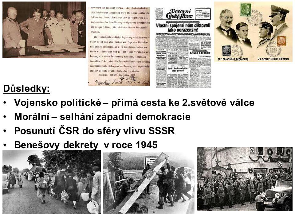 Důsledky: Vojensko politické – přímá cesta ke 2.světové válce Morální – selhání západní demokracie Posunutí ČSR do sféry vlivu SSSR Benešovy dekrety v roce 1945