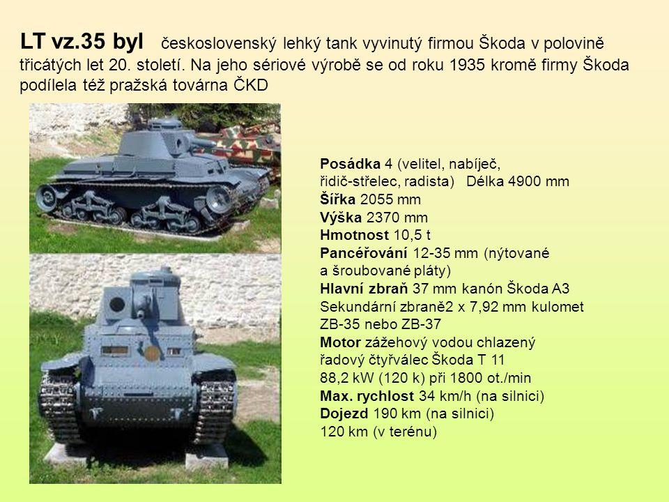 Tank LT vz. 34 byl prvním ryze československým tankem.