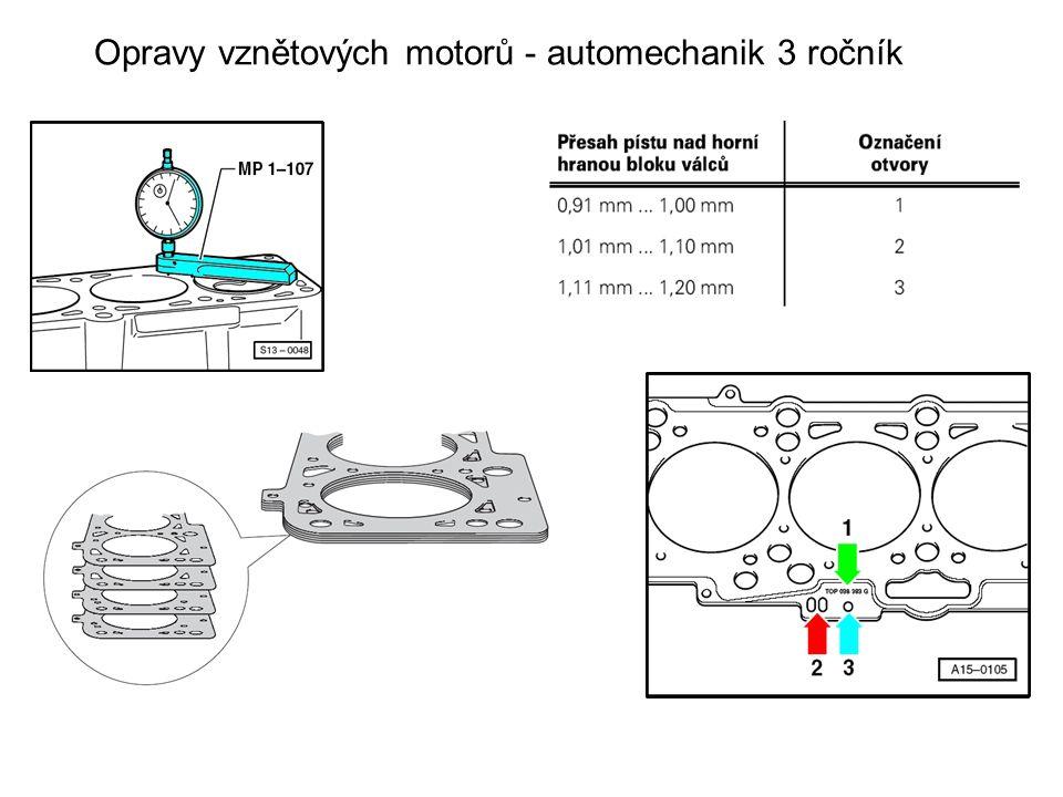 Opravy vznětových motorů - automechanik 3 ročník