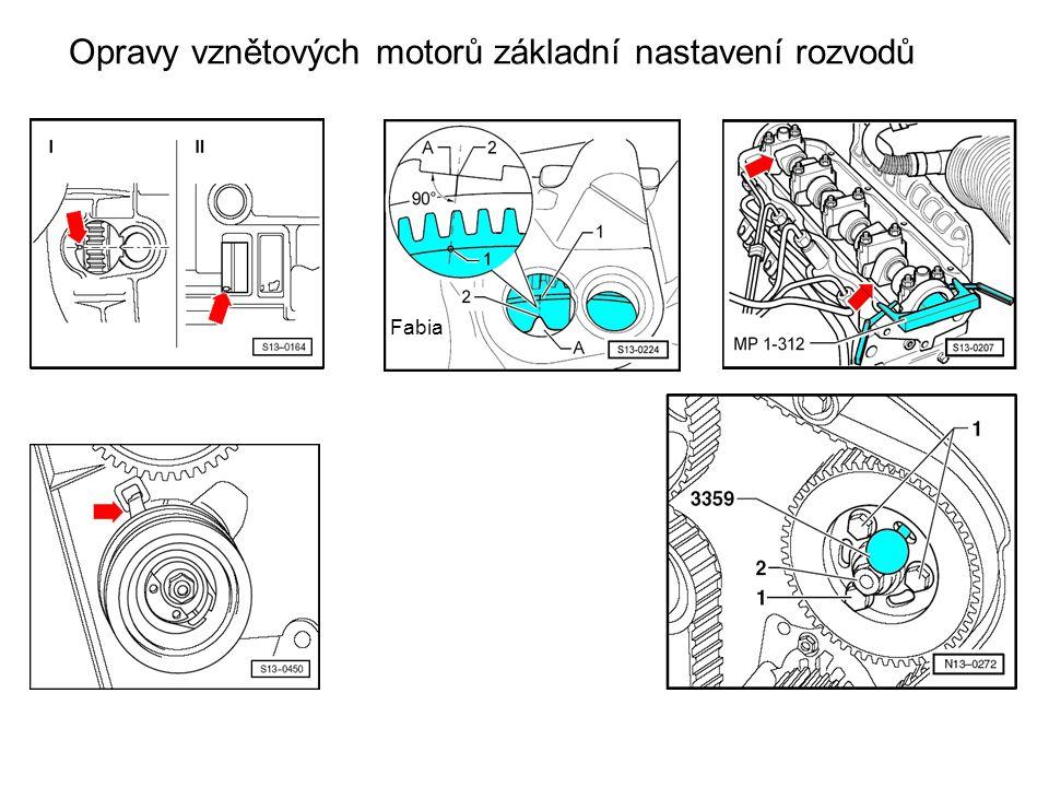Opravy vznětových motorů základní nastavení rozvodů Fabia