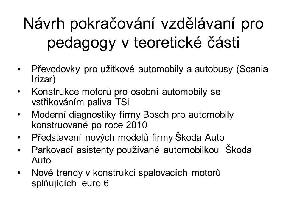 Návrh pokračování vzdělávaní pro pedagogy v teoretické části Převodovky pro užitkové automobily a autobusy (Scania Irizar) Konstrukce motorů pro osobní automobily se vstřikováním paliva TSi Moderní diagnostiky firmy Bosch pro automobily konstruované po roce 2010 Představení nových modelů firmy Škoda Auto Parkovací asistenty používané automobilkou Škoda Auto Nové trendy v konstrukci spalovacích motorů splňujících euro 6