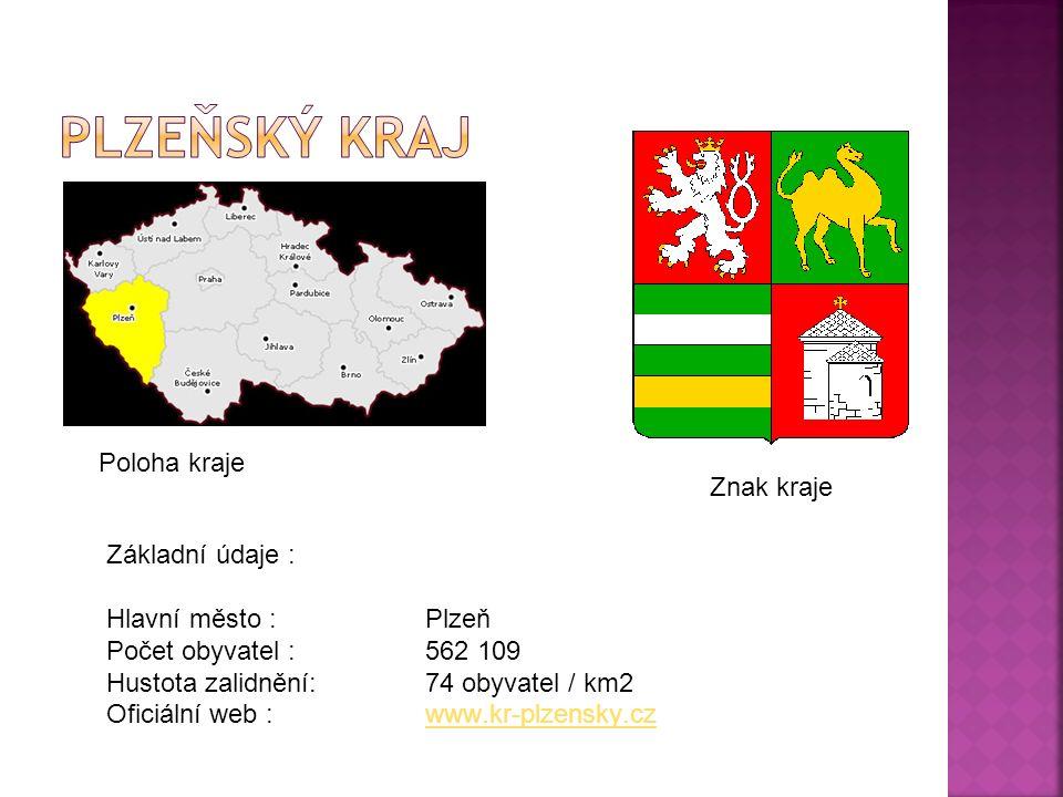 Poloha kraje Znak kraje Základní údaje : Hlavní město :Plzeň Počet obyvatel : 562 109 Hustota zalidnění:74 obyvatel / km2 Oficiální web :www.kr-plzensky.czwww.kr-plzensky.cz