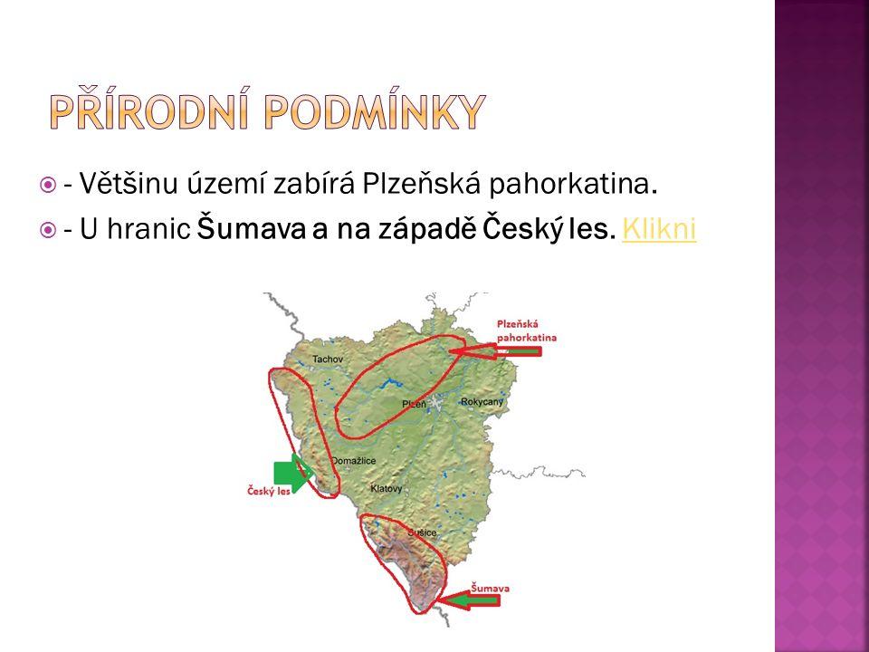  - Většinu území zabírá Plzeňská pahorkatina.  - U hranic Šumava a na západě Český les.