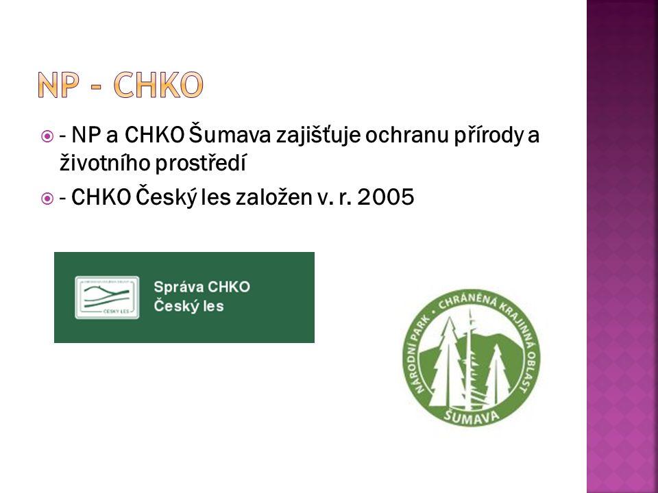  - NP a CHKO Šumava zajišťuje ochranu přírody a životního prostředí  - CHKO Český les založen v.