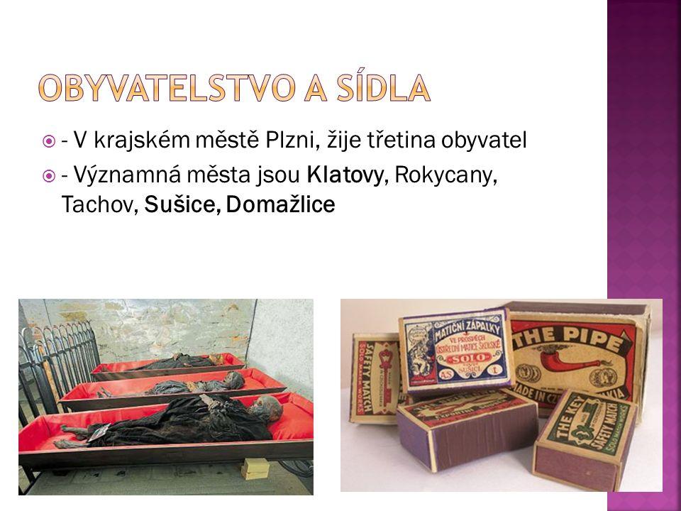  - V krajském městě Plzni, žije třetina obyvatel  - Významná města jsou Klatovy, Rokycany, Tachov, Sušice, Domažlice